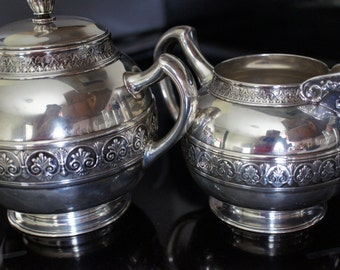 2 Piece Tea Set Gorham pattern 1400 Sterling Silver 925 Hollow Ware Creamer and covered sugar bowl with lid handles 788 grams