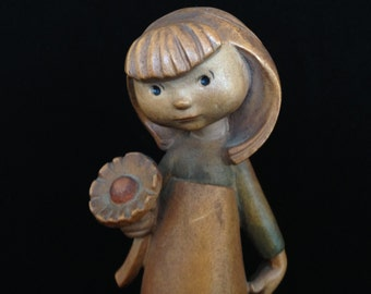 "Anri Siegfried Hafner young girl flower wood carvings Italy carved wood flower child figurine ""Infatuation"" Italian collectible carved wood"