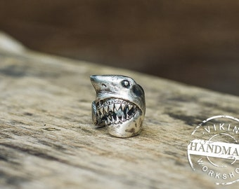Shark Sterling Silver Ring Handcrafted Animal Jewelry