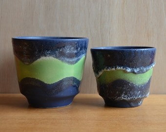 Set of two vintage Dumler & Breiden fat lava planters in green and blue, West Germany