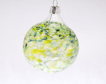 Blown Glass Ornament in Lime Green, Teal, & Grey (large)
