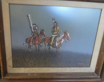 Vintage Native American Painting/ Signed Guynez, Jr.