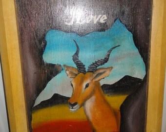 """Vintage Handpainted """"I Love Uganda"""" Painting on Wood"""