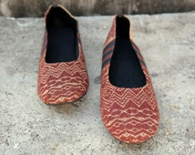 Hmong Slip ons, ballet shoes, women shoes, thailand, thai cotton, embroided, traditional, boho, ethnic wear, bohemian, handmade, brown