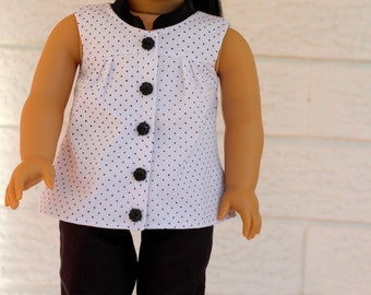 """Button Front Shirt, to fit like American Girl Doll clothes, 18"""" doll clothes"""