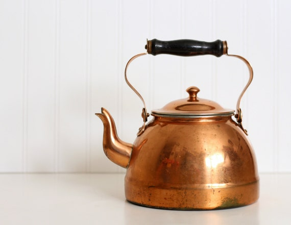 Vintage Copper Douro Tea Pot Kettle With Wooden Handle Made