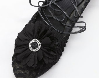 Set of 2 - Flower Shoe Clips, Feather Shoe Clips, Wedding Shoe Clips, Bridal Clips, Rose Shoe Clips, Black Shoe Clips
