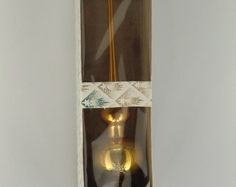 Czech Bohemian Glass Gold Christmas Tree Top in Box