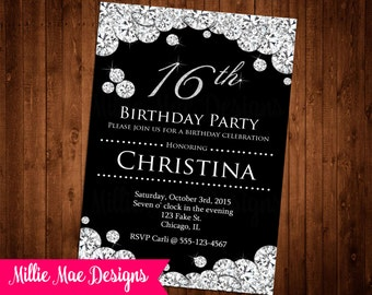 SALE 25% OFF Custom Diamond Invitation - Birthday - Anniversary Party - Bridal Shower - Baby Shower - Retirement - Party