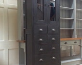 Vintage Glazed Painted Bookcase Dresser Black Freestanding Kitchen Cabinet Unit Filing Chest of Drawers