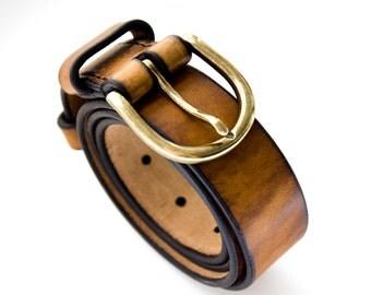 Men's Leather Belt - Leather Belt - Brown Belt - Handmade Belt