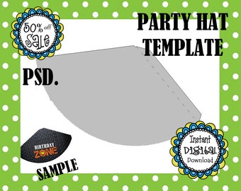 Party Hat Template- Design Your Own and Print As Many As You Need- Birthday Hat-  Party Supply- DIY Digital Template