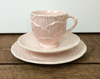 Pale pink vintage SylvaC cup, saucer and plate trio