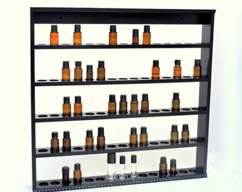 Essential Oil Storage,  Oil Shelf, Display Rack, Wood Hanging Essential Oil Shelf, Holds 75 bottles