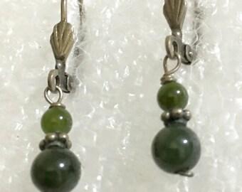 vintage jade , agate beads 925 silver dangle earrings.