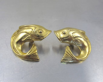 Vintage Fish Earrings, Large Gold Koi Fish Clip Ons, Pisces Zodiac March Birthday Fish Jewelry, Figural Fish Marine Life, Summer Jewelry