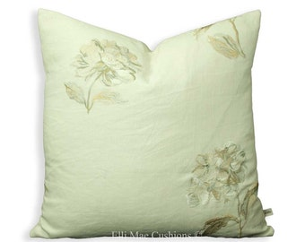Luxury Designer Neutral Linen Embroidered Floral Fabric Cushion Pillow Cover