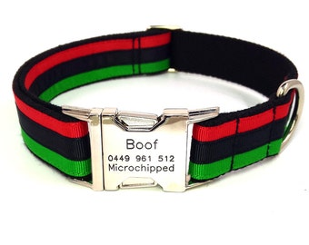 Personalized Engraved Dog Collar Stripe Name Phone Buckle Tag Red Black Green