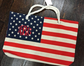 Monogram American Flag Stars and Stripes Tote Bag
