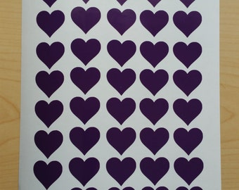 "50 Heart Decals,1"" Peel and stick, vinyl heart stickers, envelope sealers, tumbler decal, cup decal"