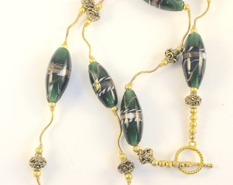 Lampwork Necklace Gold Necklace Green Necklace Green and Gold Necklace