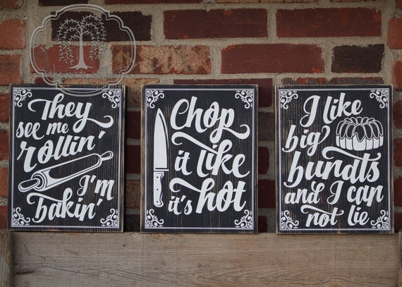 Items Similar To Kitchen Pun Signs Set Of Three Rustic