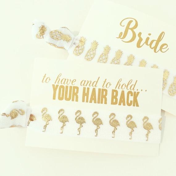 NEW! Flamingo Bachelorette Hair Tie Favors   White + Gold Flamingo Bachelorette Hair Tie Favors, White + Gold Flamingo Bachelorette Party