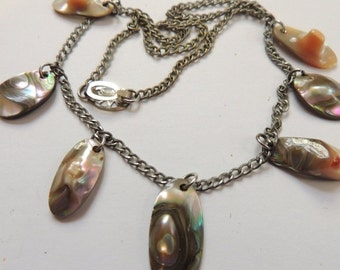 Sizzlin Summer Sale Vintage Blister Pearls Abalone Sterling Silver Necklace