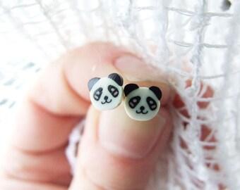Panda Earrings, Cute Panda Bear Studs, Kids Jewelry, Kawaii Panda Post Earrings, For Children