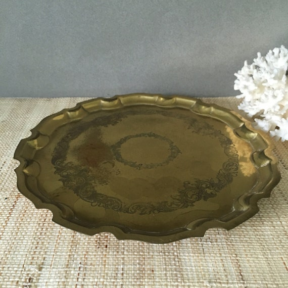 Vintage Brass Tray Small Brass Cocktail Tray Coffee Table