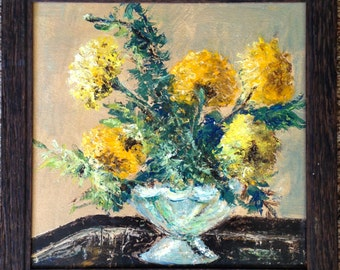 Impressionist Yellow Chrysanthemum Still Life Oil Painting Framed