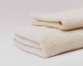 Organic Linen Cotton Terry Bath Towel in Off-White