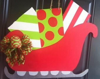 Santas Sleigh Christmas Wooden Door Hanger