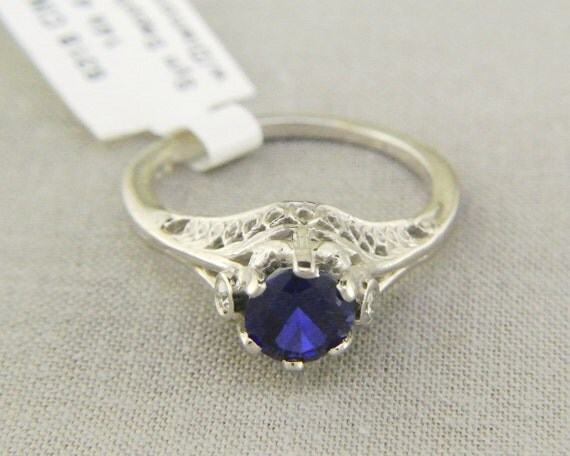 Vintage Style Filigree Design 14k White Gold Ring with Lab Created Sapphire and Diamond Accents // Kashmir Created Sapphire Engagement Ring
