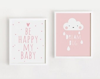 Printable Nursery Art Set of 2 Poster Baby Girls room Wall art Child room decor Pink color print Digital file INSTANT DOWNLOAD
