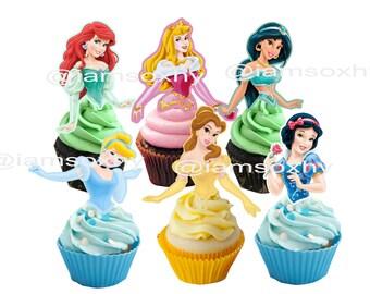 24  disney Princess  cupcake /cakepop toppers