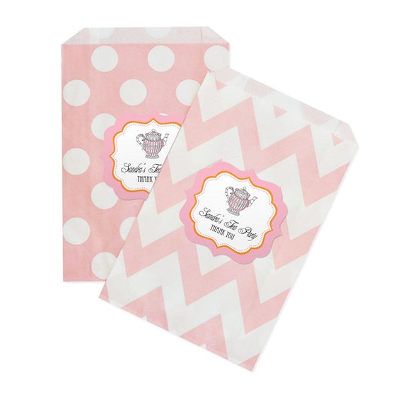 Tea party chevron amp dots goodie bags set of 12 pink candy buffet bag