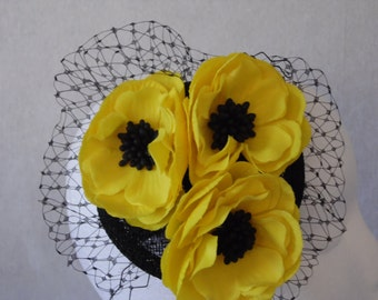 Yellow and Black Flower Fascinator