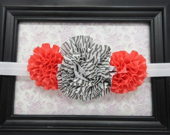 Coral and Zebra Striped Headband, Animal Print Headband