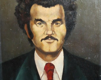 Vintage oil painting man portrait