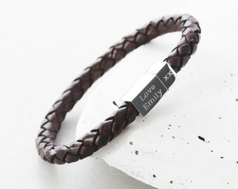 Mens Square Leather Engraved Bracelet, men's custom bracelet, men's personalized, men's bracelet, engraved bracelet, Mans bracelet