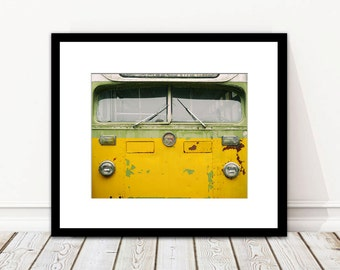 Transportation Photography, Vintage Bus, Retro, Boys Room Decor, Yellow, Green, Wall Art, Rustic, Office Decor, For Him, Fine Art Print