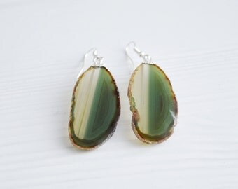Agate Earrings, Green Agate Earrings, Agate Slice Earrings, Raw Gemstone Earrings, Silver Agate Earrings, Green Agate Earrings