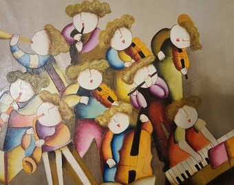 Israeli oil painting of musicians in band.