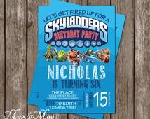 Sklanders Birthday Invitation, Skylander Party, Skylander Theme, Skylanders Invite, Digital, Printable
