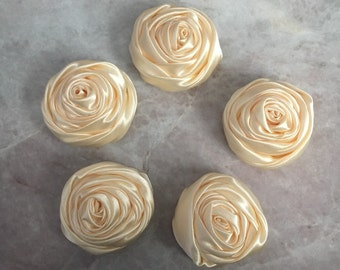 2 inch cream rosette, cream satin flowers, headband supplies, roses, headband flowers, wedding flowers, silk flowers, rolled flowers, tan