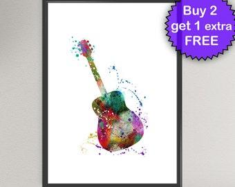 GUITAR Watercolor Art Print Ink Acoustic Instrument Painting Music illustrations Art Print Wall Art Poster Giclée Wall Decor Art Home (Nº1)