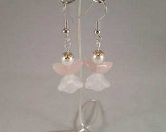 Pink Christmas Angel earrings - christmas earrings - christmas party wear - christmas gift - stocking filler - christmas angel