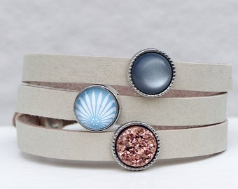 Leather Bracelet - Beige mysticism with faux Druzy