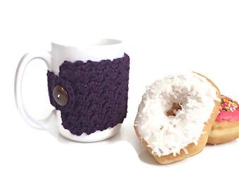 Dark Purple Coffee Cozy, Crochet Cozy, Coffee Cup Cozy, Crochet Cup Cozy, Mug Cozy, Purple Mug Cozy, Coffee Cozy, Coffee Cup Warmer
